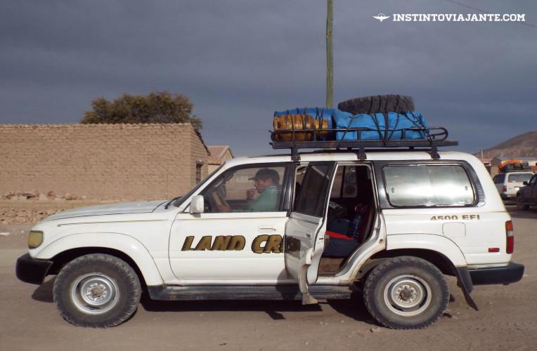 Jipe que nos levou para o tour de 3 dias pelo Deserto de Sal de Uyuni, na Bolívia.