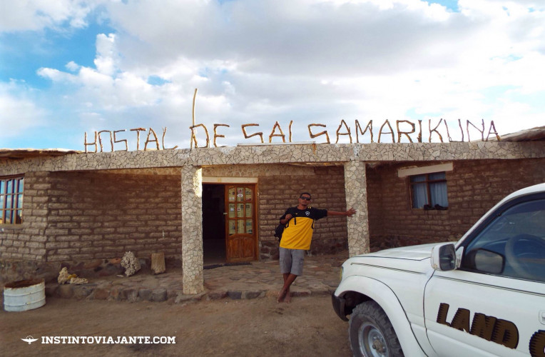 Passamos uma das noites no hostel de sal Samarikuna, no meio do deserto de Uyuni.