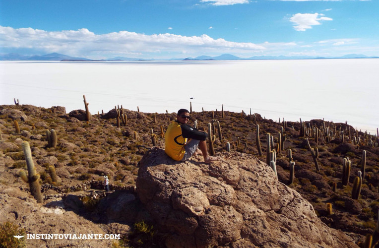 Topo da Isla Incahuasi, Deserto de Uyuni, Bolívia | Dia 1 no Deserto de Sal