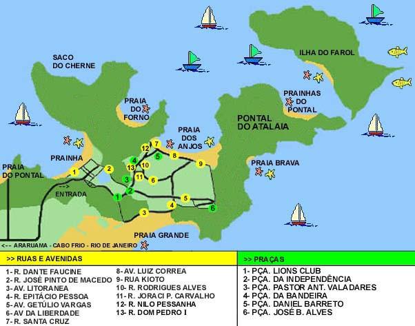 Mapa Ilustrado de Arraial do Cabo, Rio de Janeiro.
