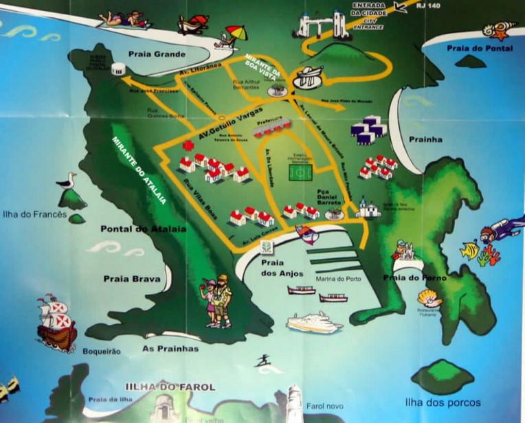 Mapa Ilustrativo de Arraial do Cabo - RJ