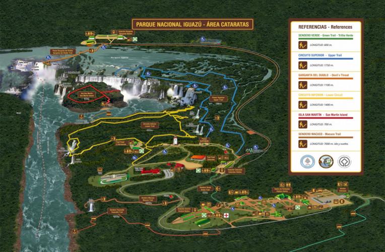 Mapa das Cataratas do Iguaçu (lado argentino). Fonte:iguazuargentina.com.