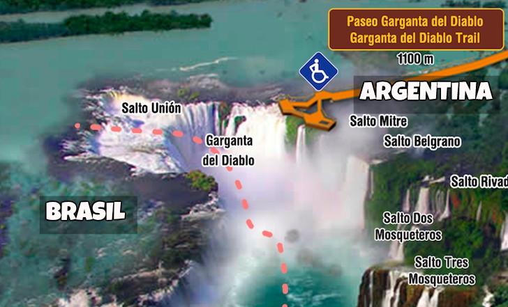 Garganta del Diablo (Argentina) acima e à direita; Garganta do Diabo (Brasil) abaixo e à esquerda. Mapa: iguazuargentina.com.