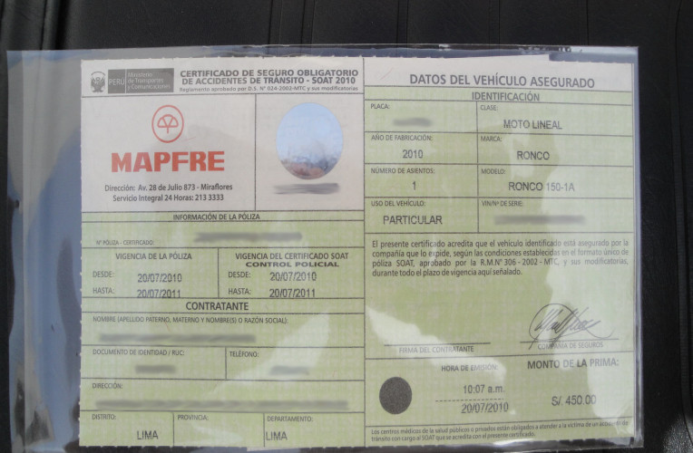 Seguro SOAT, obrigatório para viajar no Peru e Colombia com veículo de fora