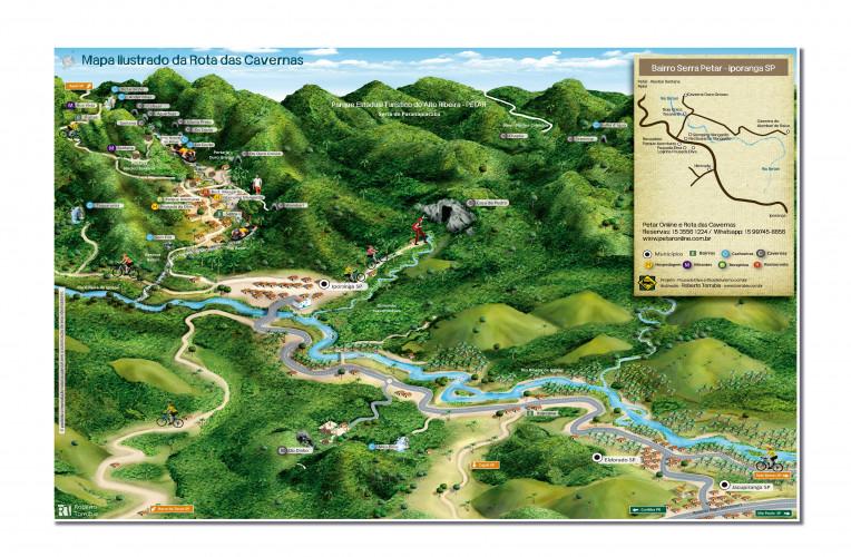 Mapa das Cavernas do PETAR e Iporanga-SP - Rota das Cavernas