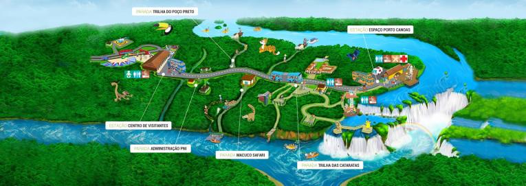 Mapa das Cataratas do Iguaçu (lado brasileiro)