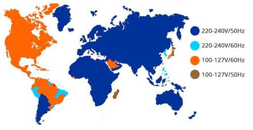 frequencia e voltagem pelo mundo
