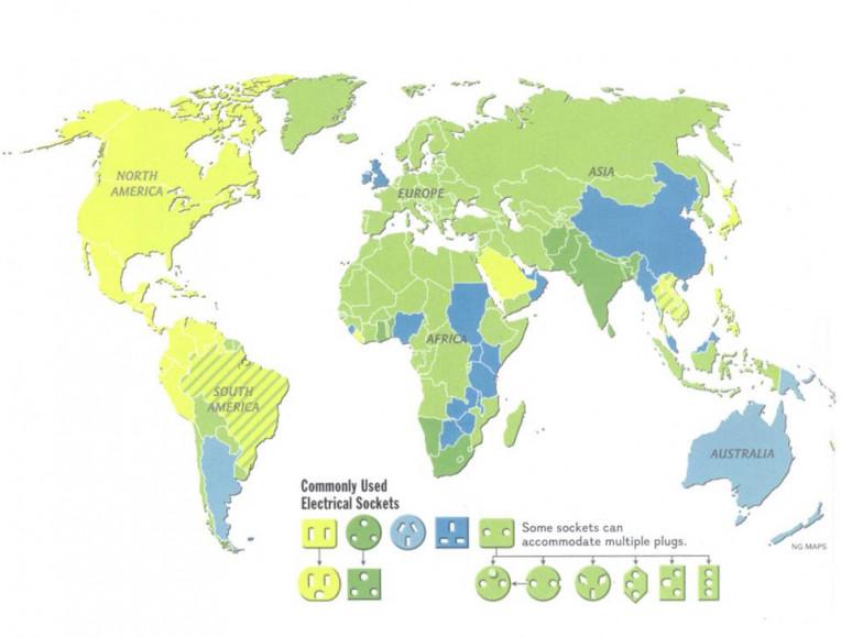 mapa de tomadas pelo mundo