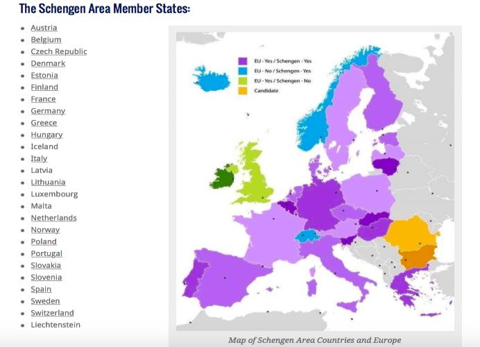 lista de países tratado de schengen